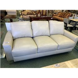 3 PCS ACME GREY WHITE LEATHER 3 SEAT SOFA, LOVE SEAT & CHAIR