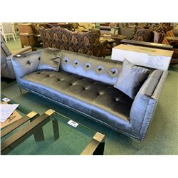 3 PCS HOLLYWOOD SWANK GREY STUDDED FABRIC 3 SEAT SOFA, LOVE SEAT & CHAIR
