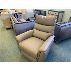 GREY LEATHER POWERED RECLINING EASY CHAIR