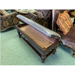 DARK WOOD & BROWN LEATHER STUDDED STORAGE BENCH