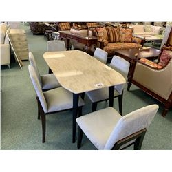 7 PCS YOUNZ MODERN MARBLE TOP DINING TABLE & PADDED CHAIRS