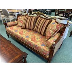 CLASSIC FURNITURE ANTIQUE PADEUK PATTERN 3 SEAT SOFA, LOVE SEAT & COCKTAIL TABLE WITH CUSHIONS