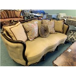 BEIGE FABRIC GOLD ETCHED CURVED BACK 3 SEAT SOFA WITH 2 DARK PATTERN SIDE CHAIRS WITH CUSHIONS