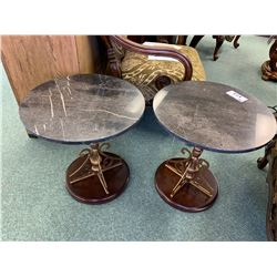 PAIR OF MONTEVERDI WOOD & GRANITE END TABLES