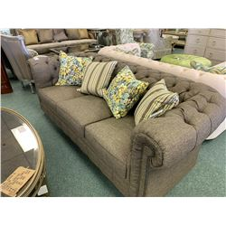 STEVEN & CHRIS GREY STUDDED 3 SEAT SOFA WITH 2 ARM CHAIRS & CUSHIONS