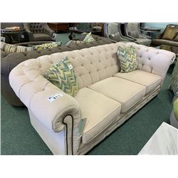 DECOR-REST CREAM STUDDED CURVED BACK 3 SEAT SOFA, ACCENT CHAIR & OTTOMAN