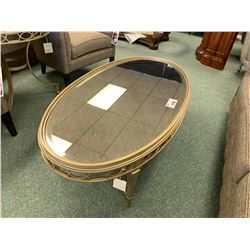 COMPOSITIONS GOLD & GLASS TOP OVAL COCKTAIL TABLE & END TABLE