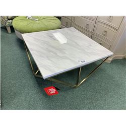 COASTER MODERN GOLD & WHITE MARBLE COCKTAIL TABLE