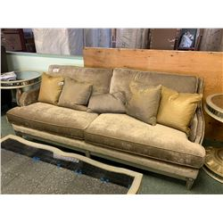 GREY STUDDED 4 SEAT SOFA WITH CUSHIONS