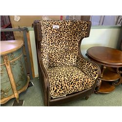 PAIR OF MICHAEL ARMINI VICTORIA PALACE LEATHER STUDDED ANIMAL PATTERN WING BACK CHAIRS WITH