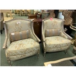 GREY WOOD & LEAF PATTERN SATIN SKY OCCASIONAL CHAIRS WITH CUSHIONS