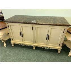 CREAM WOOD & MARBLE TOP 4 DOOR ACCENT CABINET & 2 SINGLE DRAWER END TABLES