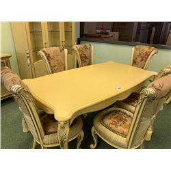 8 PCS CREAM & SILVER ETCHED DINING SET INCLUDING ; TABLE, 6 CHAIRS & 3 DOOR GLASS FRONT ILLUMINATED