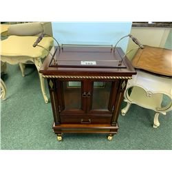 MAHOGANY MOBILE 2 DOOR SINGLE DRAWER ANTIQUE DINING CART
