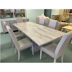 9 PCS ACCADUEO GREY MODERN DINING TABLE SET INCLUDING ; TABLE, LEAF, 6 CHAIRS & 4 DOOR SINGLE