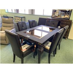 10 PCS MICHAEL ARMINI HOLLYWOOD LOFT BLACK DINING TABLE SET INCLUDING ; TABLE, LEAF, 6 CHAIRS &