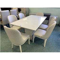 8 PCS GREY BONDED LEATHER GLASS TOP MODERN DINING TABLE SET INCLUDING ; TABLE, 6 CHAIRS & 3 DOOR 2