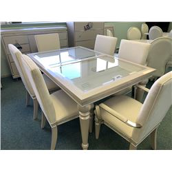 10 PCS MICHAEL ARMINI GLIMMERING HEIGHTS IVORY GLASS TOP DINING TABLE SET INCLUDING ; TABLE, LEAF,
