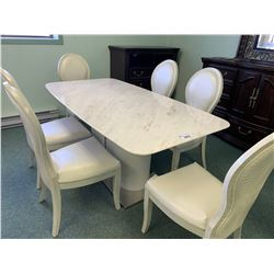 WHITE LEATHER MODERN RECTANGULAR MARBLE TOP DINING TABLE & 6 CHAIRS