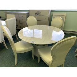 WHITE LEATHER MODERN CIRCULAR MARBLE TOP DINING TABLE & 4 CHAIRS