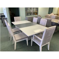 WHITE MICROFIBER MODERN RECTANGULAR DINING TABLE & 6 CHAIRS