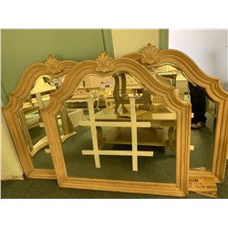 BRUSHED WOOD TRADITIONAL LARGE FRAMED WALL MIRROR