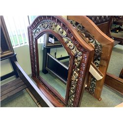 CURVED TOP IRON & WOOD LARGE FRAME WALL MIRROR