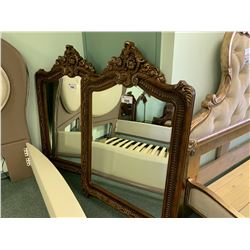 GOLD ETCHED FLOWER LARGE FRAME WALL MIRROR