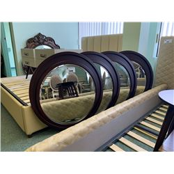 DARK WOOD MODERN CIRCULAR WALL MIRROR