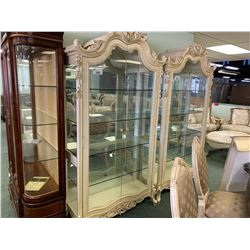 MICHAEL ARMINI CHATEAU WHITE WOOD 2 DOOR GLASS CURIO CABINET