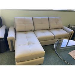 CREAM ITALIAN LEATHER 3 SEAT SOFA WITH LOUNGE