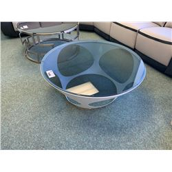 MODERN METAL & GLASS CIRCULAR COCKTAIL TABLE