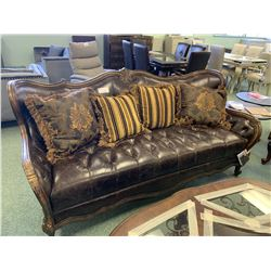 STUDDED BROWN LEATHER & WOOD CURVED BACK 3 SEAT SOFA WITH CUSHIONS