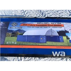 (UNUSED) 20 X 40 FT. CONTAINER ROOF SHELTER