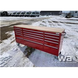 (UNUSED) RED 2 X 6 FT. 15 DRAWER WORKBENCH