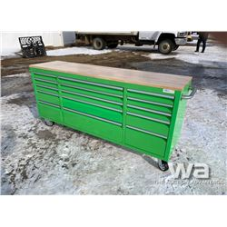 (UNUSED) GREEN 2 X 6 FT. 15 DRAWER WORKBENCH