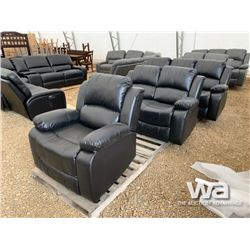 BLACK RECLINING SOFA, LOVE SEAT & CHAIR