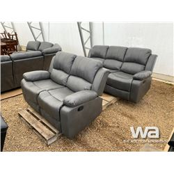 GREY RECLINING SOFA & LOVE SEAT