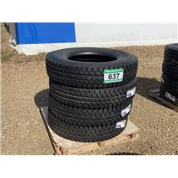 (UNUSED) (4) GRIZZLY 11R24.5 TRUCK DRIVE TIRES