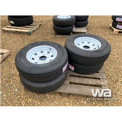 (4) GRIZZLY ST225/85R15 TRAILER TIRES & RIMS