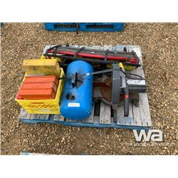 "PALLET WITH 10"" MITRE SAW, AIR TANK, CREEPER"