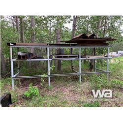 GREY 3-TIER RACK OF FLAT STEEL & I-BEAM