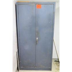 Gray Metal 2 Door Storage Cabinet w/ Adjustable Shelves