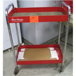 "Red Metal & Wood 2-Tier Rolling Tool Table 30"" x 17"" x 40""H"