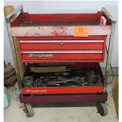 Snap On Tools Red Metal 2 Tier Rolling Shelf w/ 2 Drawers & Misc Tools