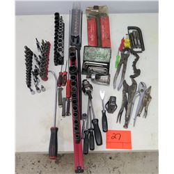 Multiple Misc Tools Ratchets, Sockets, Lifters, Pliers, Allen Wrenches, etc