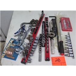 Multiple Misc Tools Ratchets, Sockets, Nuts, Piston Ring Groove Cleaner, etc