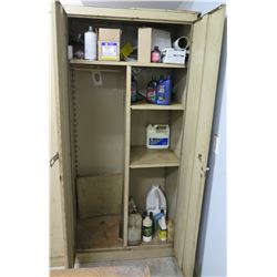 "2-Door Metal Storage Cabinet & Contents: Oil, Transmission Fluid, Jack Oil, Etc. 36""W x 21""D x 78""H"