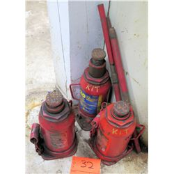 Qty 3 Red Hydraulic 20 Ton Bottle Jacks w/ Handles