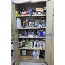 "2-Door Metal Storage Cabinet & Contents: Speaker, Clamps, Alarms, Paint, etc. 36""W x 21""D x 78""H"